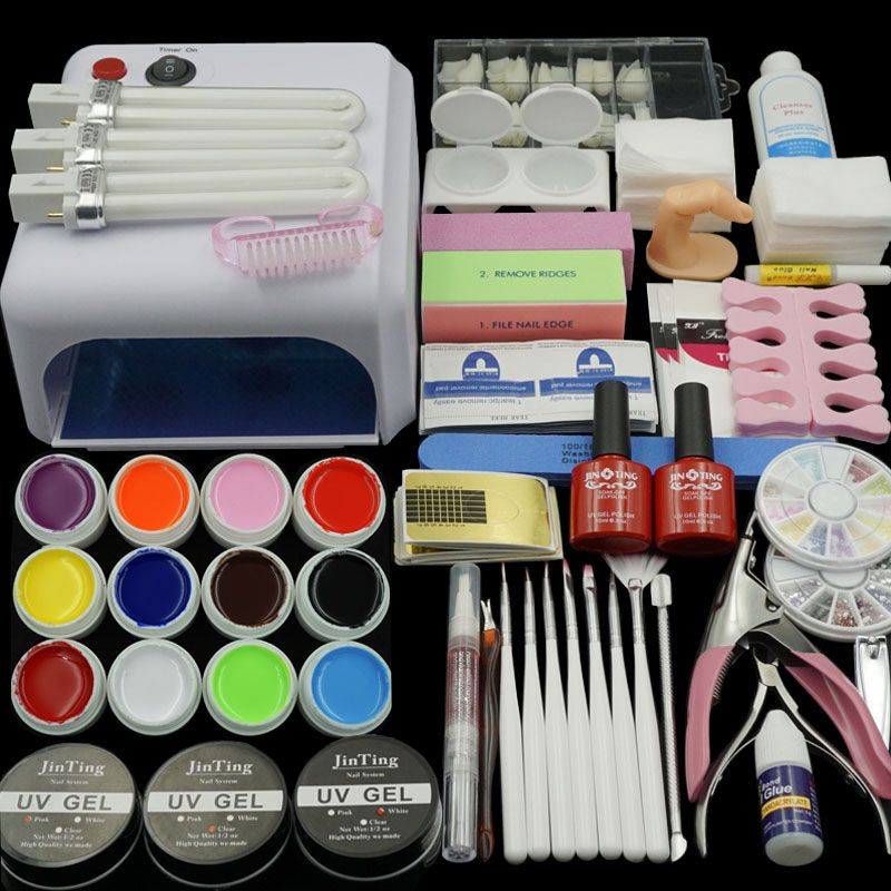 36W Lamp (Optional) 12 Color UV GEL + clear Nail brushes False ...