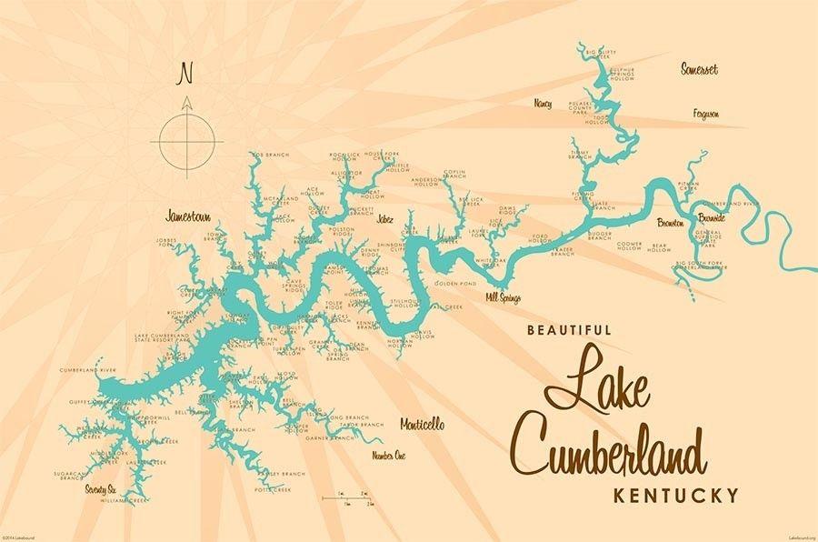 lake cumberland ky map Lake Cumberland Ky Lake Map Mural Wallpaper With Images Lake lake cumberland ky map
