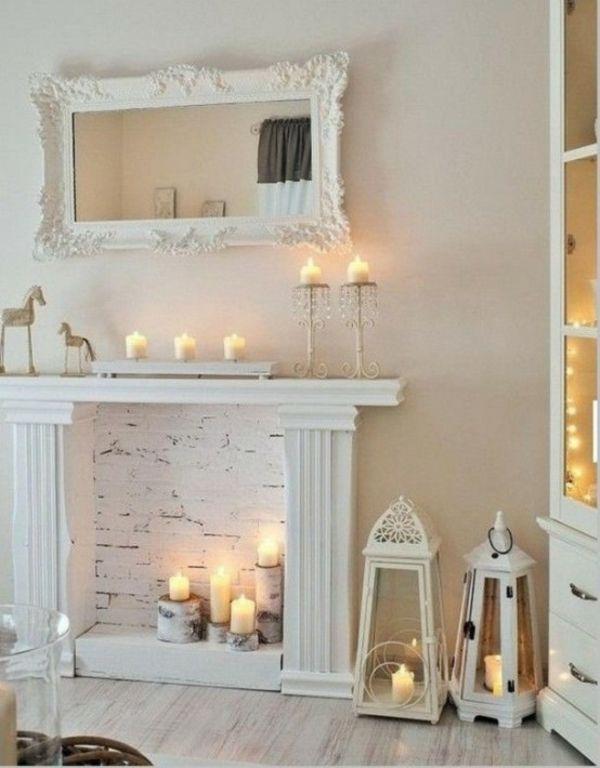 deko kamin ziegelwand weiß stumpenkerzen Deko Kamin Pinterest - deko schlafzimmer wand