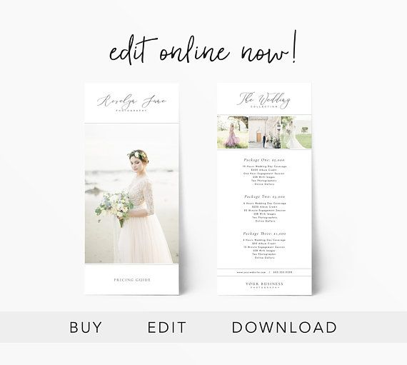 Editable Pricing Guide Rack Card, Wedding Price Sheet, Photography - Price Sheet Template