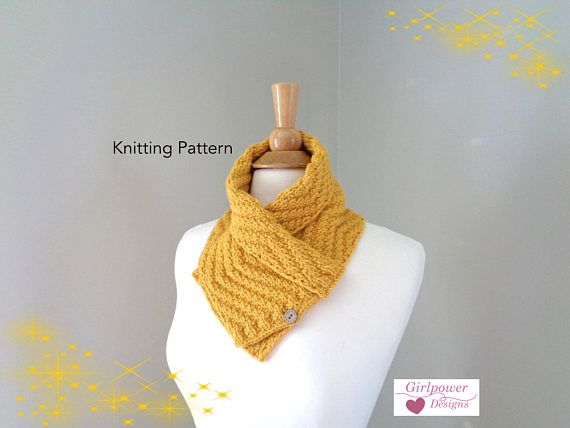Button Neck Scarf Knitting Pattern Shawl Collar Neck Warmer