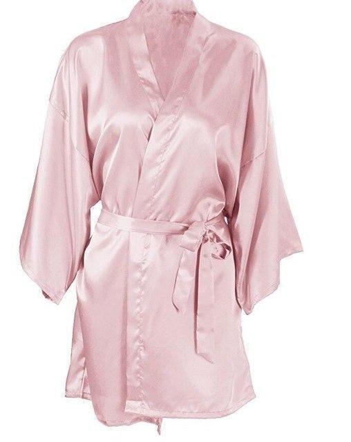 b625e200ce Wedding Bride Bridesmaid Silk Satin Robe Floral Bathrobe Short Kimono Robe  Night Robe Bath Robe