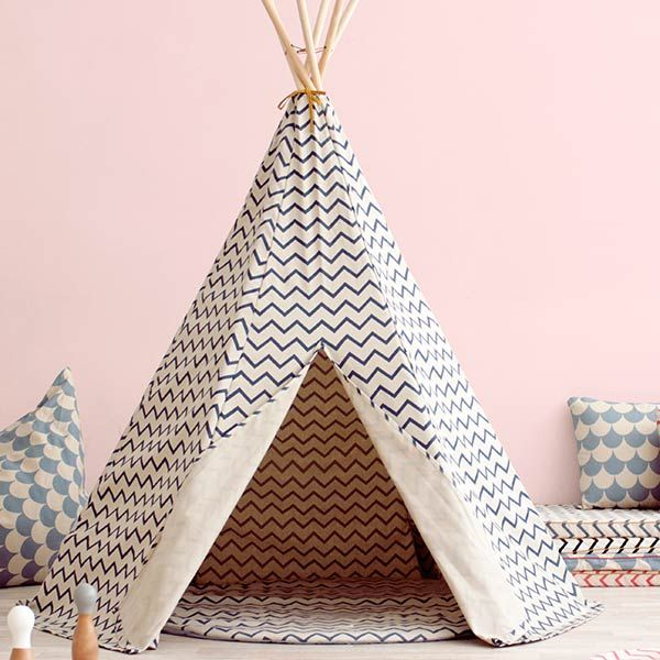 #Nobodinoz speelmat Apache zigzag blauw #tipi #teepee #kidsroom #littlethingz2