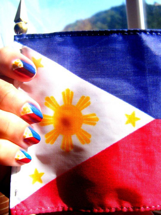 Philippines flag nail art nail arts pinterest flag nails philippines flag nail art prinsesfo Gallery