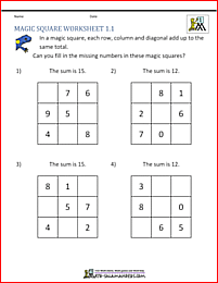 1st Grade Magic Square puzzle - fill in the missing numbers