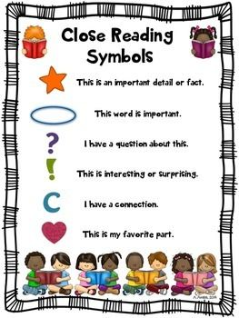 Close Reading Symbols Posters Back To School Beginning Of The Year Reading Close Reading Symbols Close Reading Reading Anchor Charts
