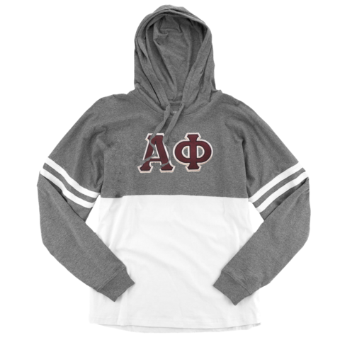 Alpha Phi Long Sleeve hoodie shirt with stitched Greek Letters.