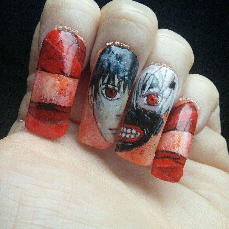 Tokyo Ghoul Nails Unas Anime