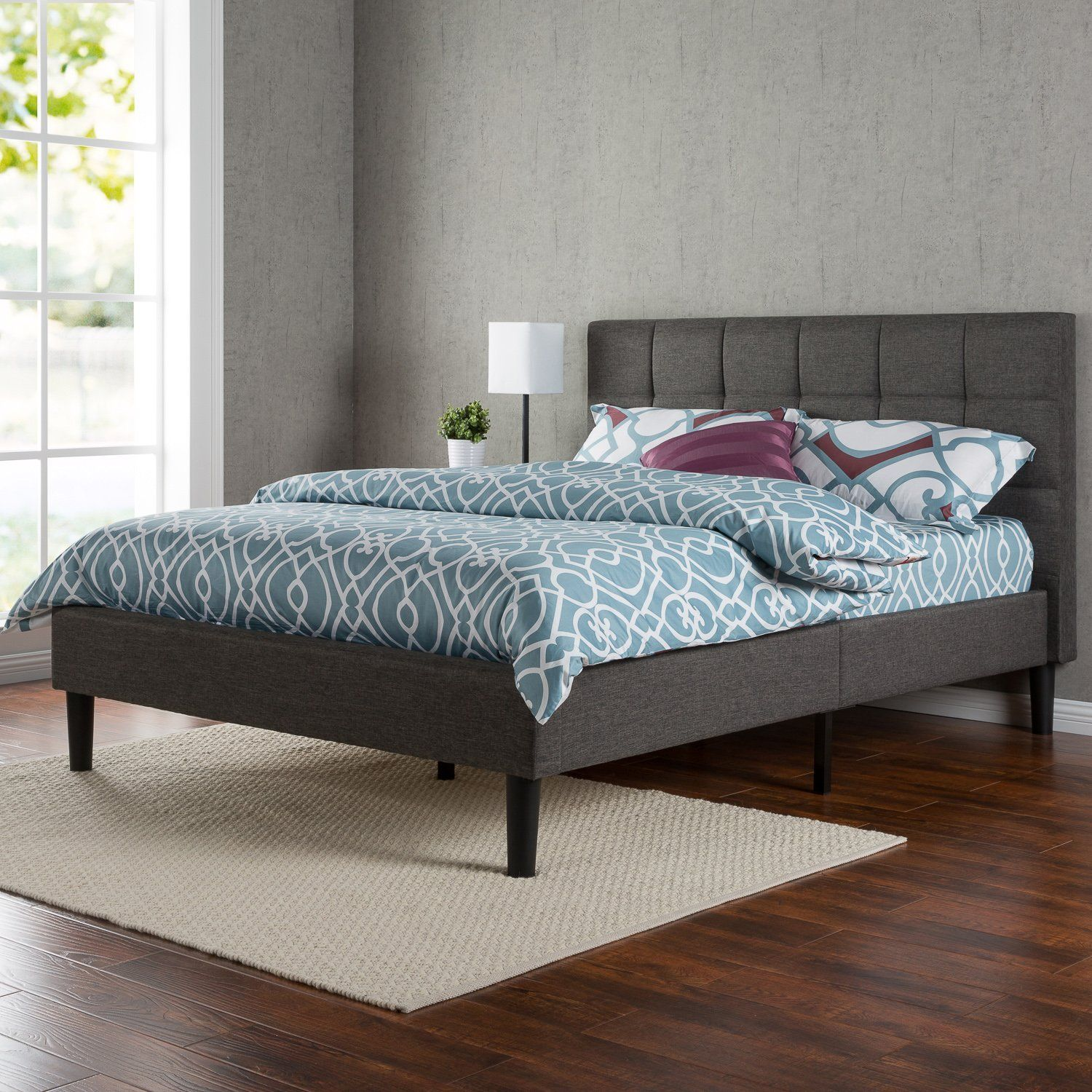 Zinus upholstered square stitched platform bed with wooden slats queen style spacez