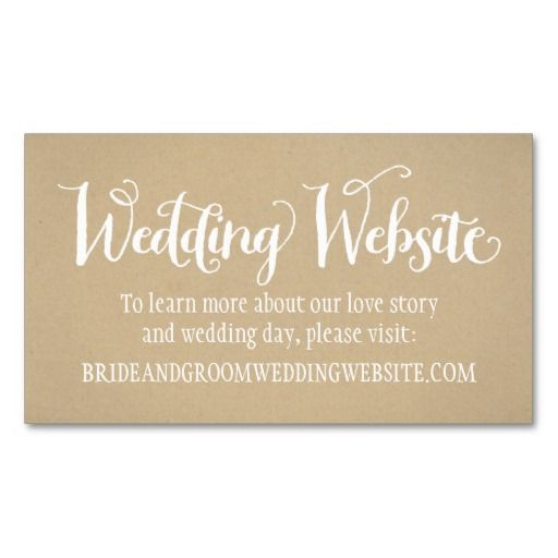 Wedding Website Card Kraft Brown Business Card Template - Wedding business card template
