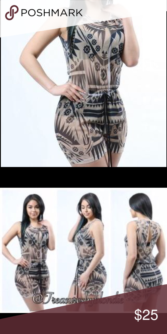 """Mesh See Through Romper Sleeveless sheer mesh romper in tribal printed pattern. Elastic band inserted around the waist with ribbon tie accent. Slit back with button to secure.  95% Polyester 5% Spandex  PLEASE NOTE: THIS IS A SHEER """"SEE THROUGH"""" ROMPER. Pants Jumpsuits & Rompers"""