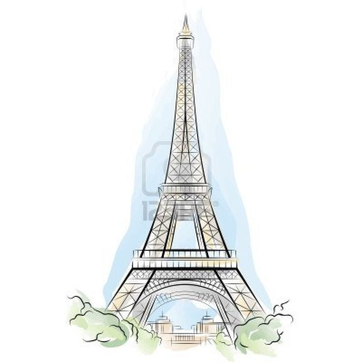 Illustration Of Drawing Color Eiffel Tower In Paris France Vector Art Clipart And Stock Vectors