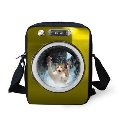 Creative Pet Dog Printing Canvas Messenger Bag for Girls Satchel Bags Cute Cat Women Messenger Bag Kids Children Crossbody Bag
