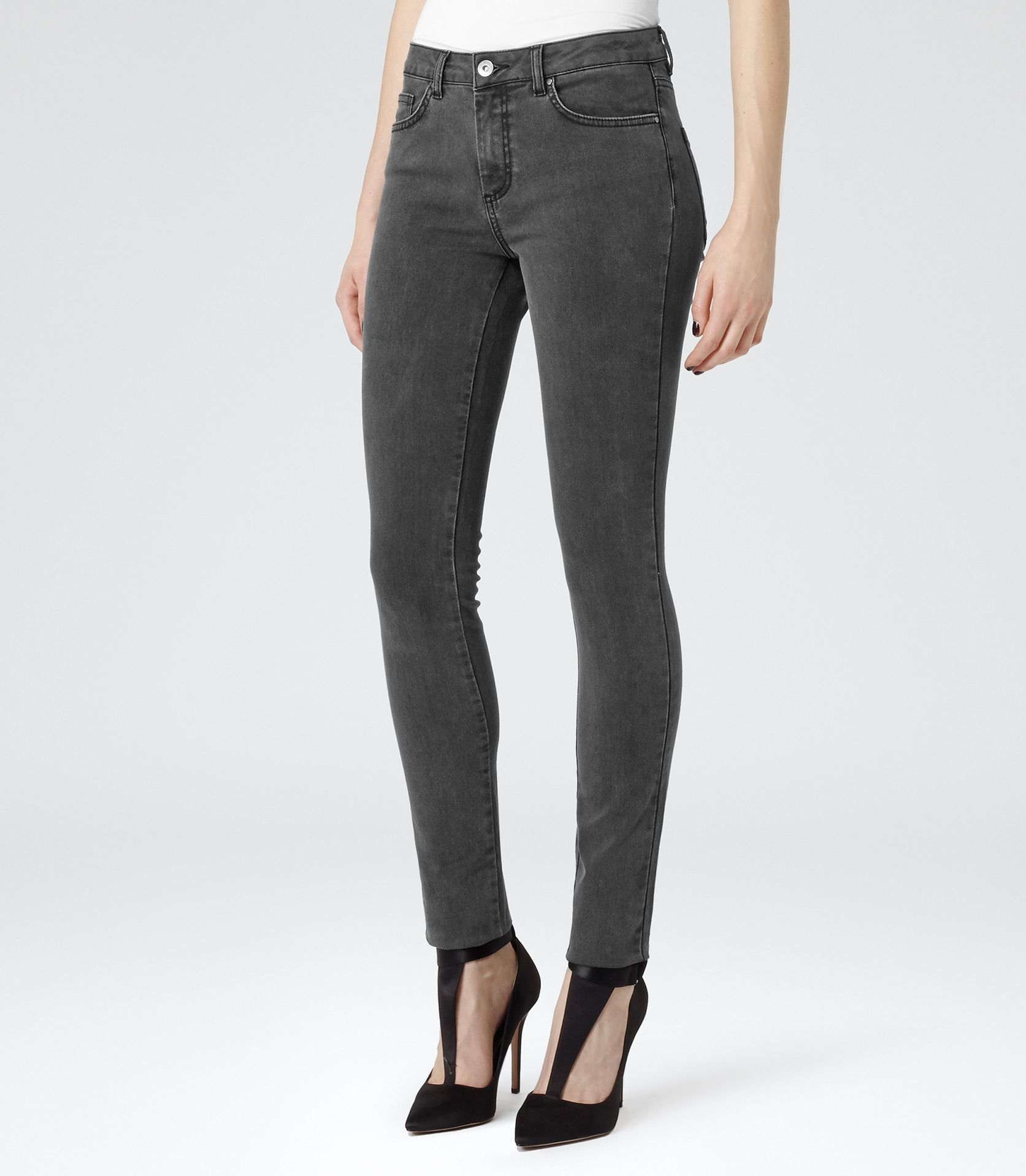 Womens Grey Skinny Jeans Photo Album - Reikian