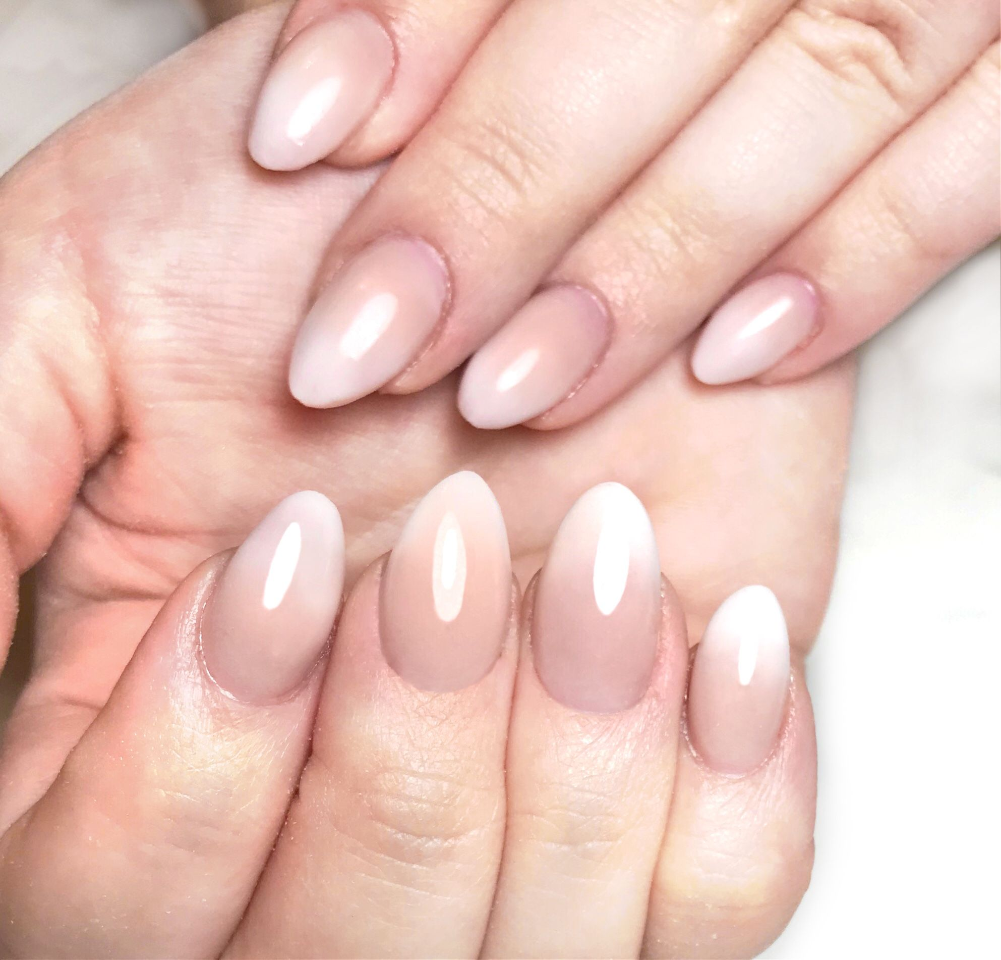 French Fade Baby Boomer Nail Art on Short Almond Nails