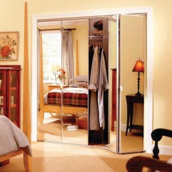 Truporte 24 In X 80 In 321 Series Steel Frameless Bifold Mirror Door Beveled 343513 The Home Depot In 2020 Mirrored Bifold Closet Doors Small Space Interior Design Bifold Door Hardware