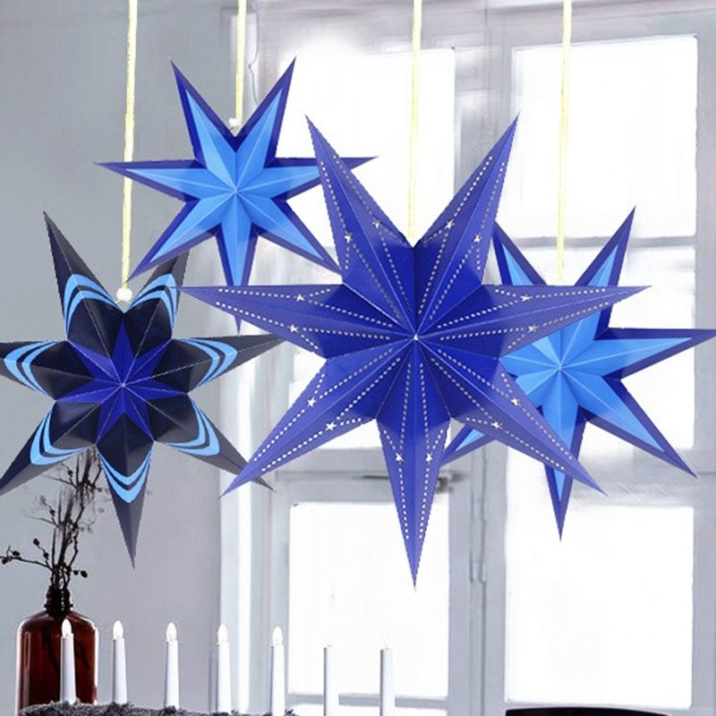 Blue Cut Out Paper Star Lantern Hanging Decoration For Christmas Wedding Home Holiday Showers Decorations Accessories
