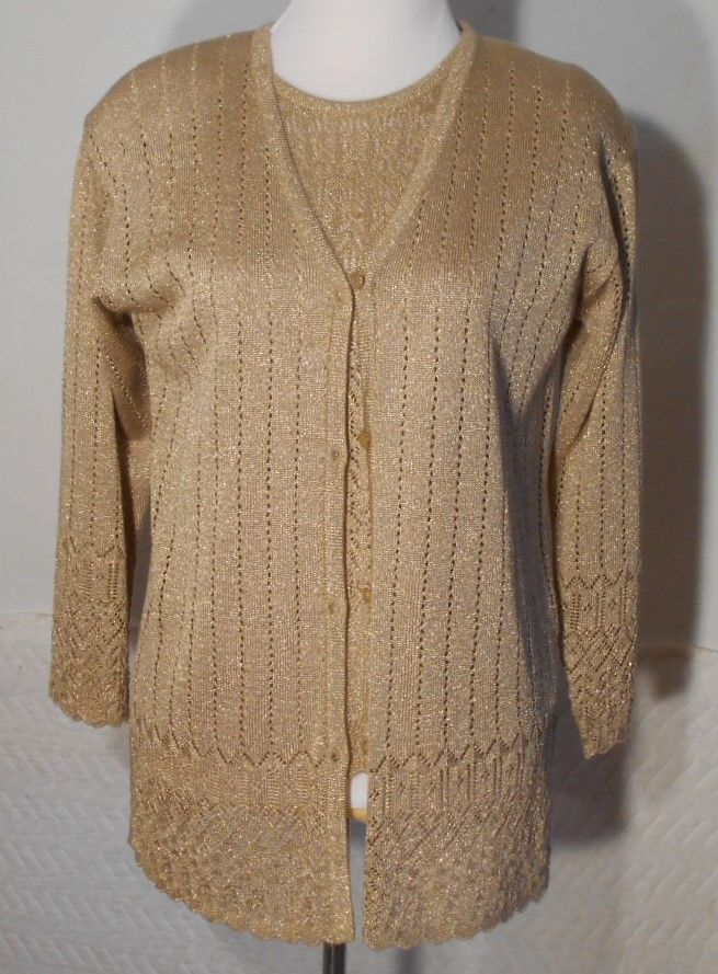 Theo Miles Gold 2 Pc Twinset Sweater Sz Small Short Sleeve Shell ...