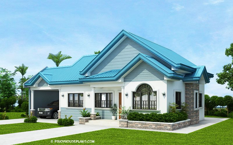 The Blue House Design With 3 Bedrooms Pinoy House Plans Architectural House Plans Affordable House Plans Three Bedroom House
