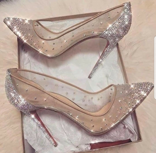 1bc5b2534a615 Cinderella shoes  nude sheer pumps with crystal sparkle embellishments