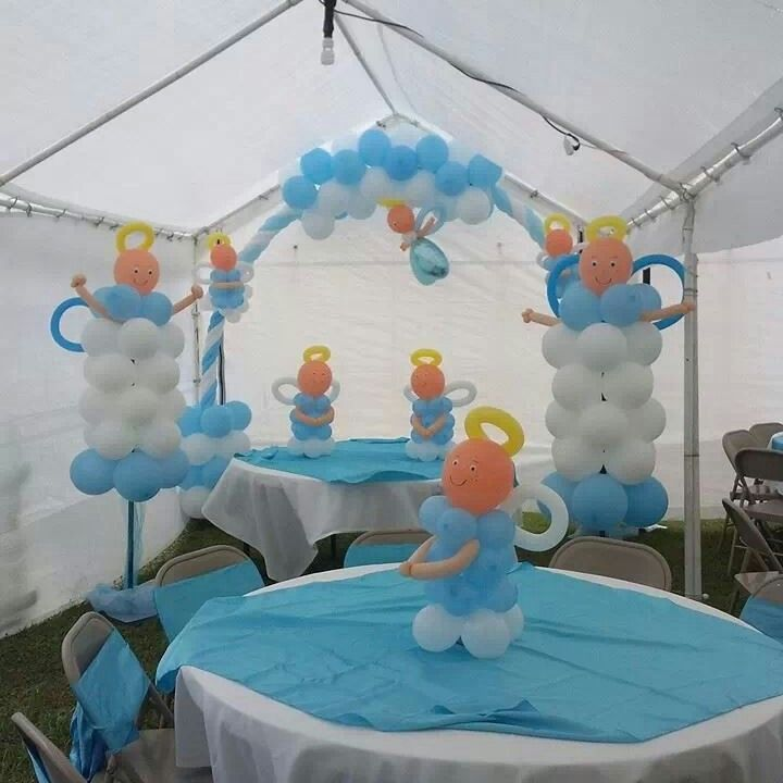 Baptism boy balloon archs arco con globos pinterest for Balloon decoration ideas for christening