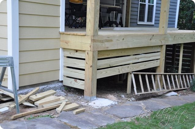 And They Started On The Screen That Will Cover The Bowels Of The Deck I Told S That I Would Rather Not Do Lattice Whi Deck Skirting Building A Porch Pergola