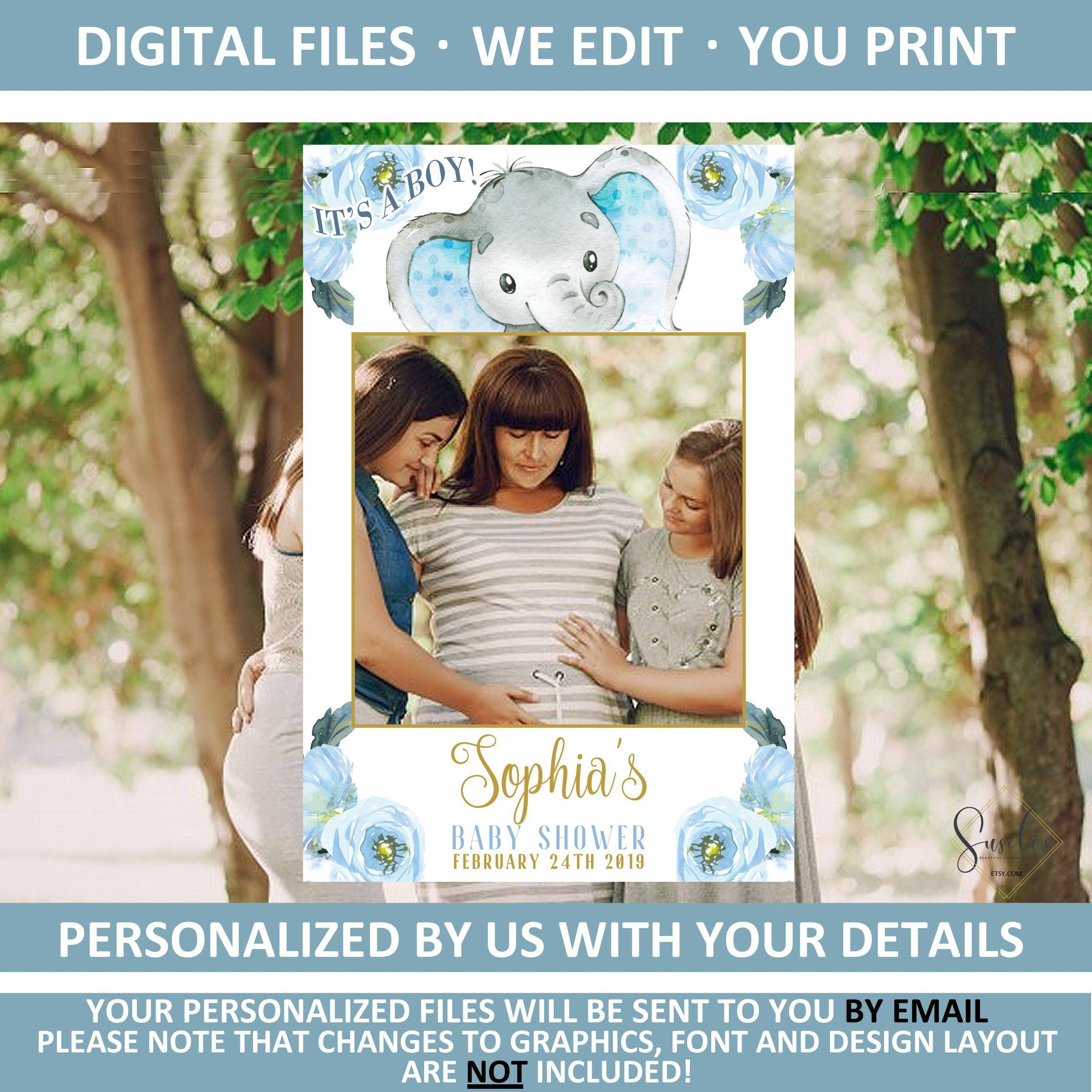 Photo Booth Frame Prop Personalize at home with Adobe Reader Editable PDF 24x36 PF26 Instant Download