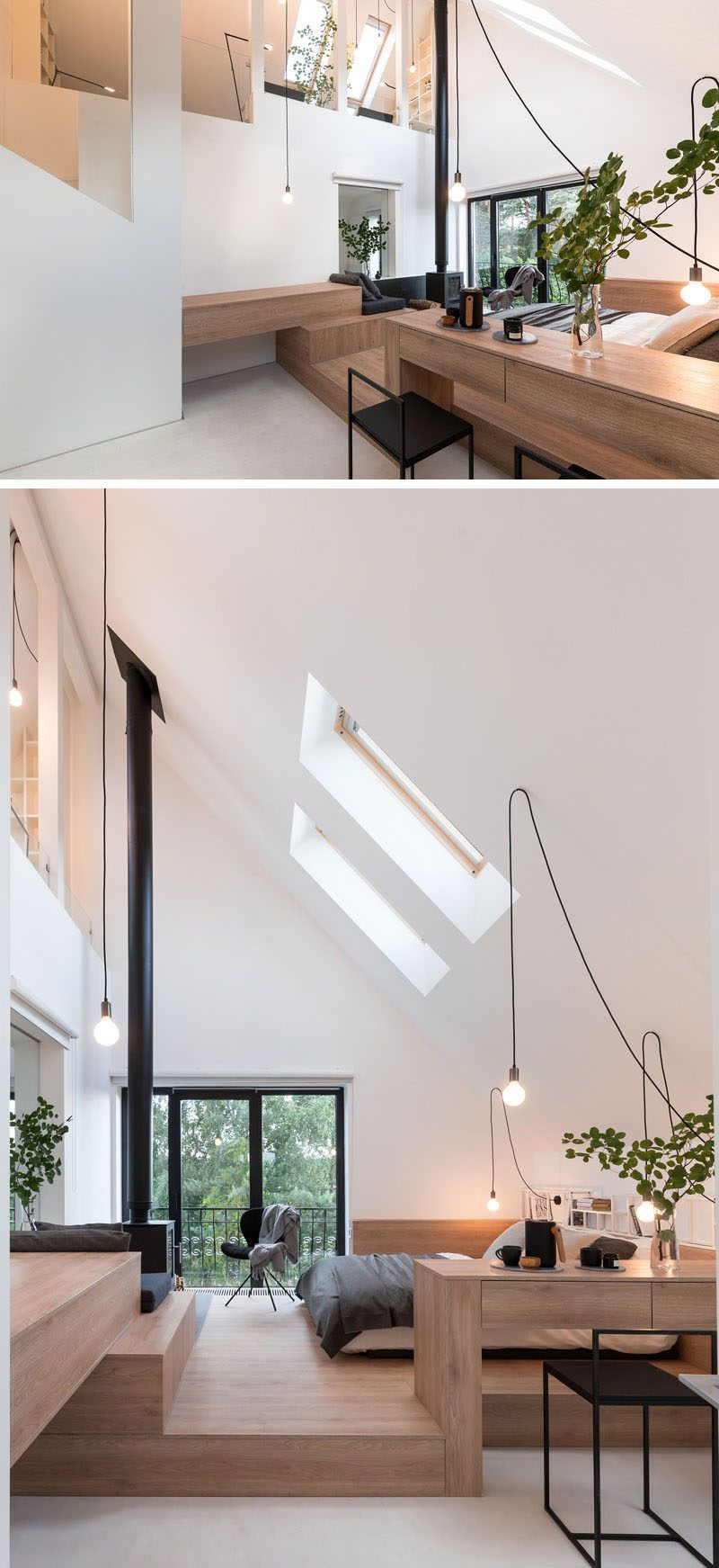 Architecture and interior design firm ruetemple have transformed the attic of a house in moscow russia and made it into a private and relaxing modern