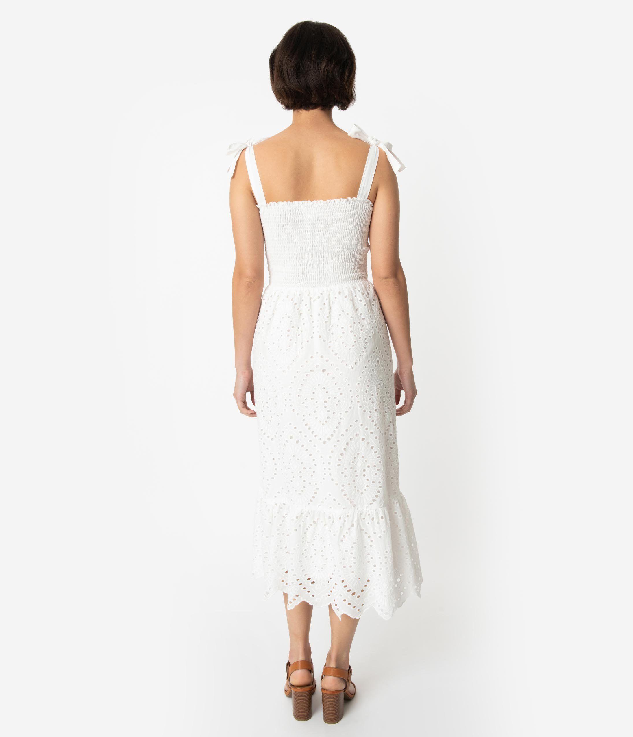 9376e56db24 Vintage Style Off White Cotton Sleeveless Button Up Midi Dress – Unique  Vintage
