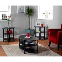 @Overstock - Set includes: Coffee table, hall table, end table Materials: Engineered wood and solid wood legs Finish: Black http://www.overstock.com/Home-Garden/Black-Oval-3-piece-Coffee-End-and-Hall-Tables/6188044/product.html?CID=214117 $255.99