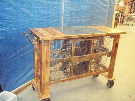 Small, rolling storage cart for Kitchen / Oak kitchen island  Metal baskets for storage by Palletprimitives, $1150.00