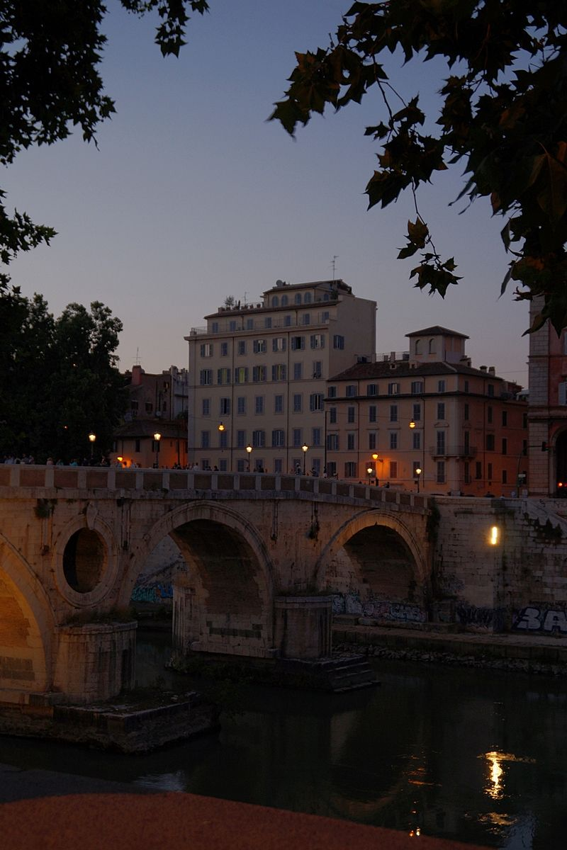 Summer night at the Tiber river in Rome, Italy