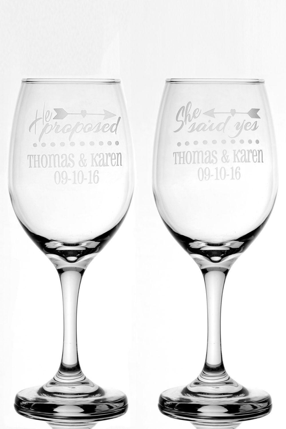 Personalized Engagement Gift He Proposed She Said Yes 13 oz Wine ...