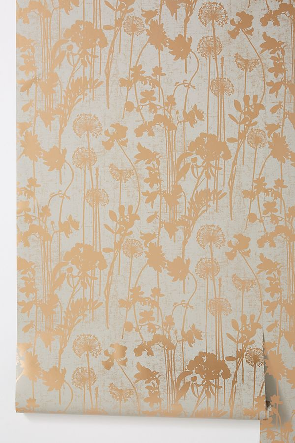 Distressed Floral Wallpaper by Anthropologie in Grey, Wall