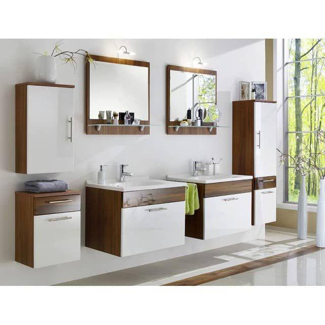 Badmobel Set Atlanta Hochglanz Weiss Walnuss E Combuy Gmbh Badezimmer Gunstig Badezimmer Design Industriedesign Badezimmer