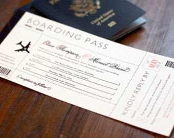 x10 Boarding pass invitation destination wedding any colours ...