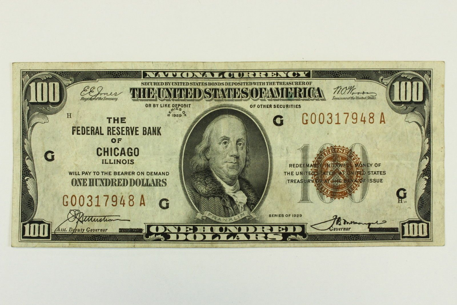 1929 One Hundred Dollar 100 Dollar Bill Federal Reserve Bank
