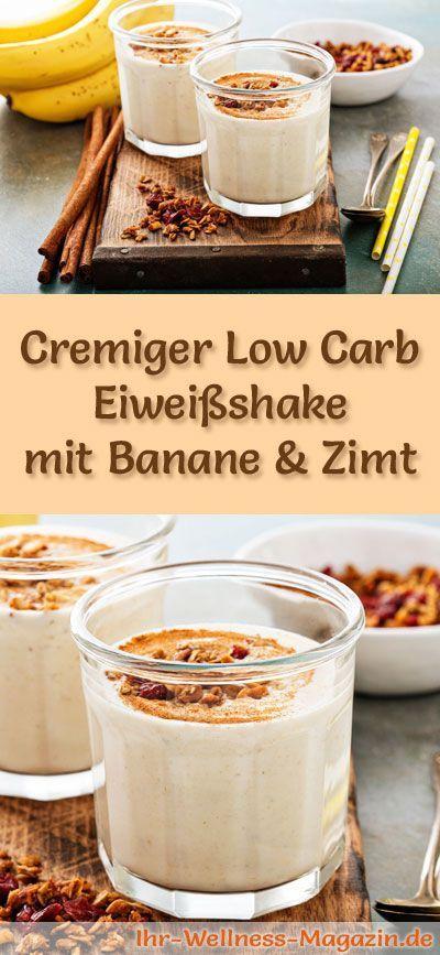 Eiweißshake mit Banane und Zimt - Low-Carb-Eiweiß-Diät-Rezept #protiendiet