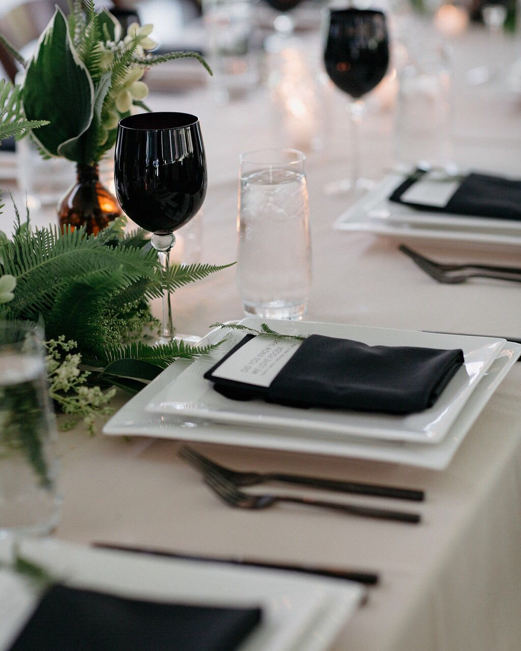 Very cool tabletop styling from Flutter Events. We love the black and white place setting combination!  Event Planning & Design: @PilarMustafa of @FlutterEvents   Floral Design: @RevelFloral   Photography: @GretchenGause   Venue: @Kvenues  #encoreeventsrentals #whitesquarechina #blackwineglass #arezzomatteblackflatware #purecrystaltumbler #tabletop #tabletopdesign #placesetting #weddinginspiration #eventinspiration #eventplanning #eventdesign #blackandwhite #floraldesign #eventrentals
