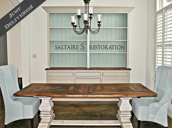 Custom built trestle table along with the console/hutch SaltAire