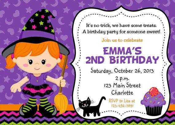 Halloween Party Invitation Purple Witch Birthday