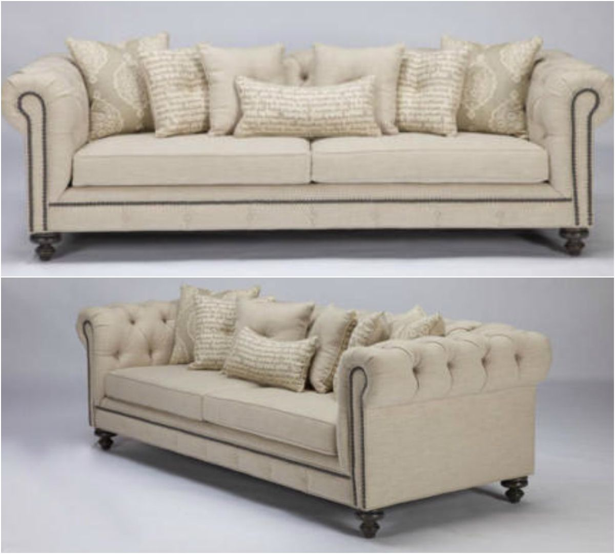 This Traditional Chesterfield Inspired Sofa Is Incorporated With A Modern Twist Using Cream Textured Linen Blend Fab Sofa Contemporary Sofa French Country Sofa