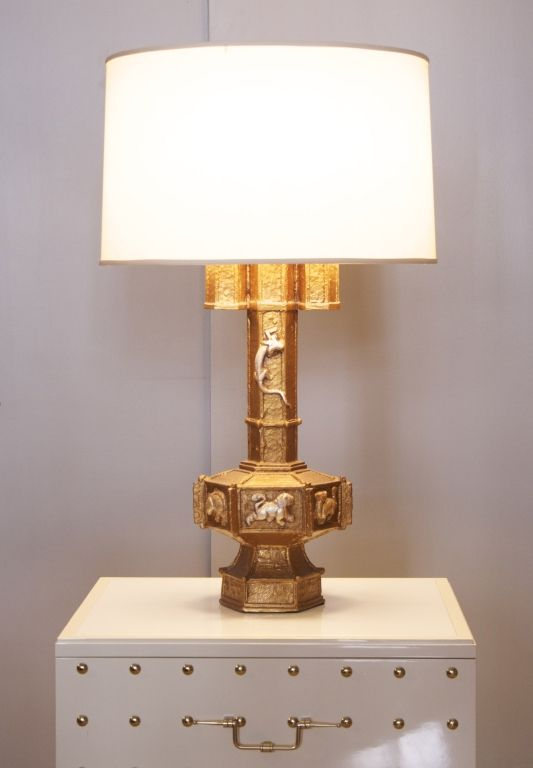 Carved Plaster Lamps by James Mont, circa 1940s