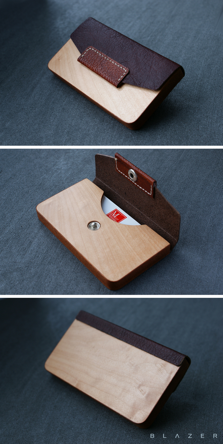 Business Card Case Leather Business Card Holder Business Gifts Wood