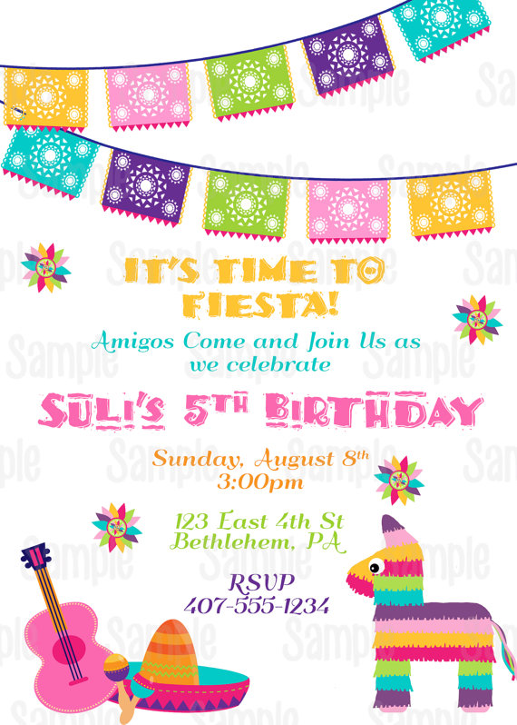 Printable Fiesta Invitation 5 De Mayo Mexican Birthday Party Plus FREE Blank Matching P
