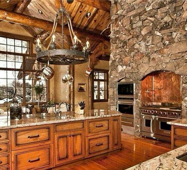 Wood And Rock Love It Luxury Log Cabins Rustic Kitchen Design Log Cabin Kitchens