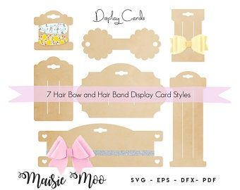 Bow Card Template Pngpdfsvg Formats Bonus Necklace And Etsy Earring Cards Template Display Cards Bow Template