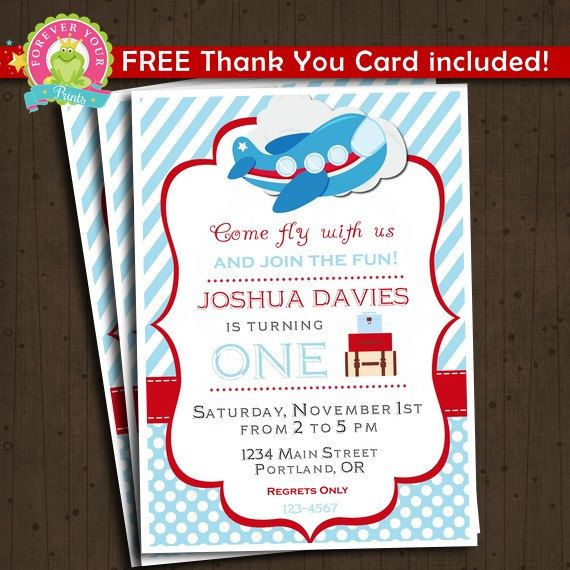 Airplane Birthday Invitation - ANY AGE  This listing is for a printable Airplane Birthday Invitation and matching Thank You Card, delivered via