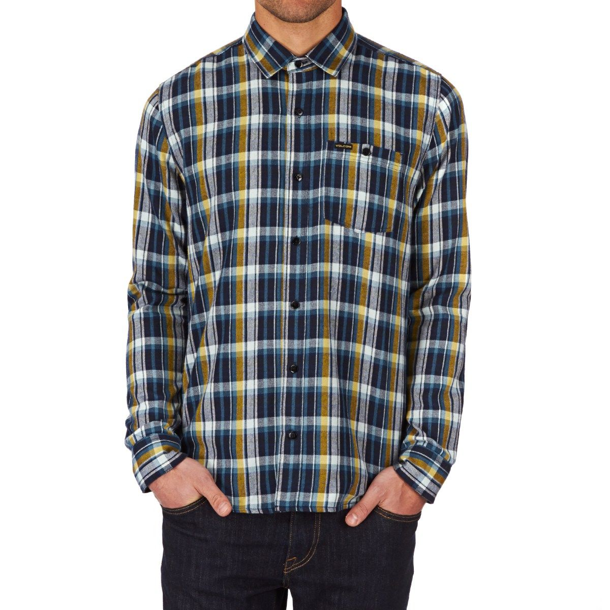 Men's Volcom Shirts - Volcom Bartlett Long Sleeve Shirt - Navy