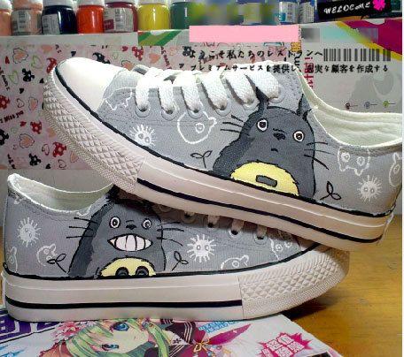 Neighbor Hand My Custom Painted Totoro Canvas Shoes Sneaker kXOPZiTu